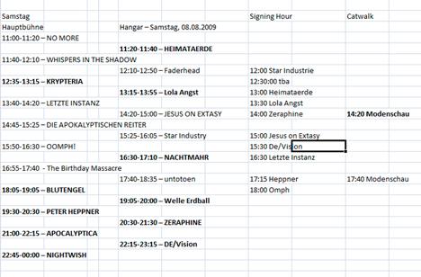 Mera Luna Timetable